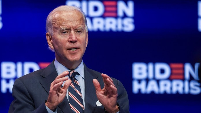 Democratic U.S. presidential nominee and former Vice President Joe Biden discusses his plans to develop and distribute a safe coronavirus disease (COVID-19) vaccine if elected president, during a camp