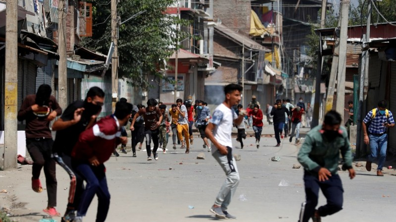 Protest after a gun battle in Srinagar