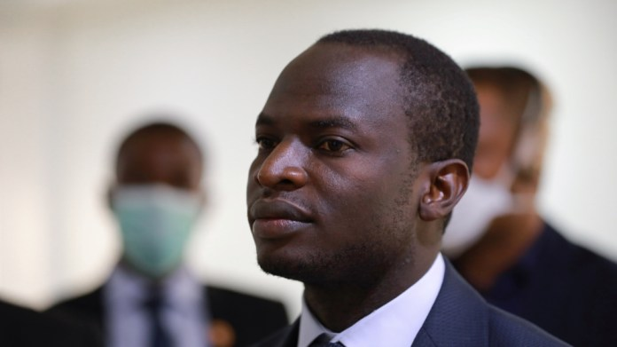 Dr Aliyu Sokomba, President of National Association of Resident Doctors (NARD) is seen during a news conference in Abuja