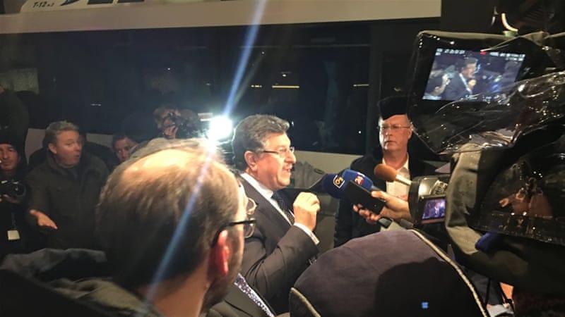 Salem al-Meslet, spokesman of the Higher Negotiations Committee, talked to the press in Geneva [Basma Atassi/Al Jazeera]