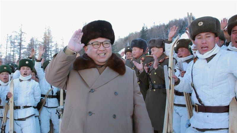 North Korean leader Kim Jong-un provides guidance to the skiing training of the mountain infantry battalion [Reuters]