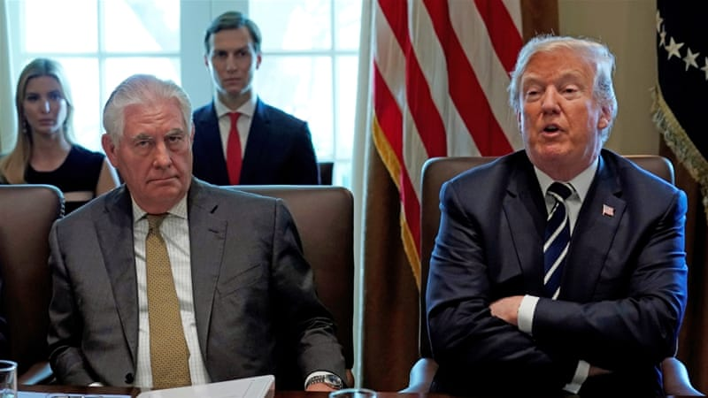 US Secretary of State Rex Tillerson listens as President Donald Trump holds a cabinet meeting at the White House in Washington, DC [Reuters/Kevin Lamarque]