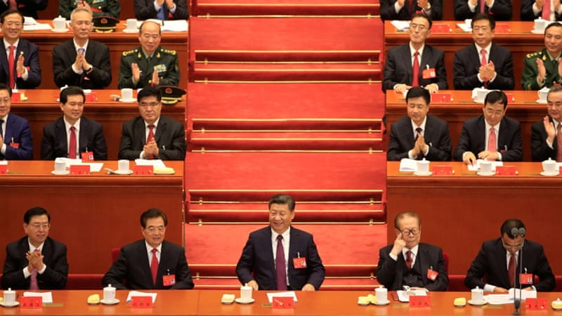 Chinese President Xi Jinping at the opening of the 19th National Congress of the Communist Party of China at the Great Hall of the People in Beijing [Aly Song/Reuters]
