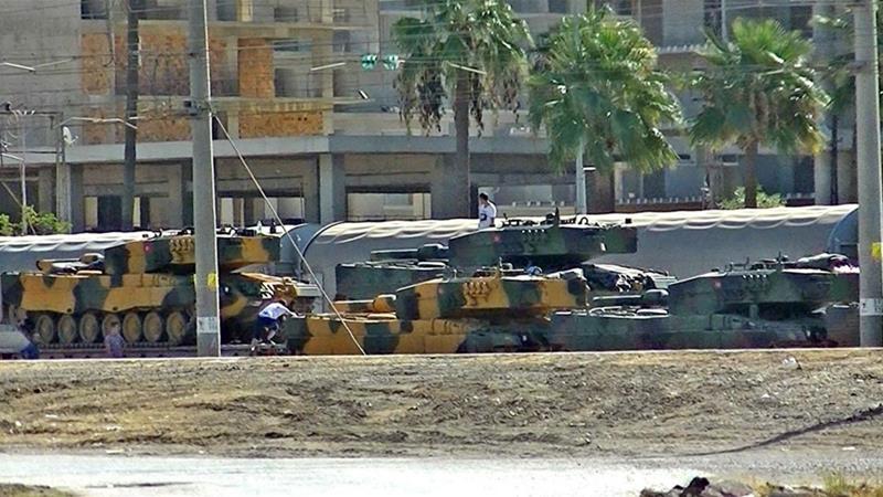 Turkish tanks seen at Iskendurun district in Hatay [Stringer/AFP/Getty Images]