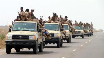 Sudanese forces fighting alongside the Saudi-UAE coalition gathered near the outskirts of Hudaida [Najeeb Almahboobi/EPA]