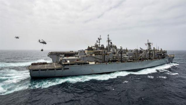 This handout picture released by the US Navy on July 14, 2019 shows the amphibious assault ship USS Boxer in the Arabian Sea [Keypher Strombeck/ Navy Office of Information/ AFP]