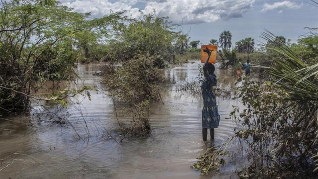 A Malawian girl fetches water from a river created by floodwater after Cyclone Idai struck in March 2019 [File: Amos Gumulira/AFP]