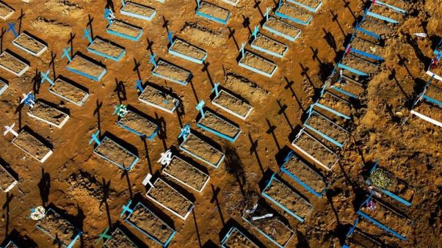 The Nossa Senhora Aparecida cemetery in Manaus. Brazil has recorded more than 50,000 deaths from the coronavirus [Michael Dantas/AFP]