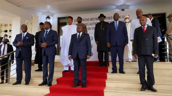 ECOWAS imposed economic sanctions after the coup, and said a new president should be appointed by Tuesday. [Francis Kokoroko/Reuters]