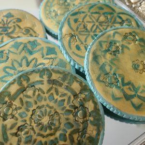 Mandala Clay Coasters