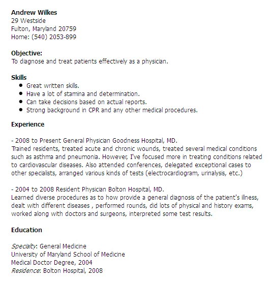 Doctor medical resume