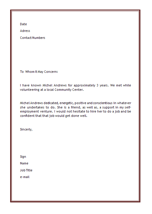 Job Reference Letter Template Uk free example format character – Job Reference Letter Template