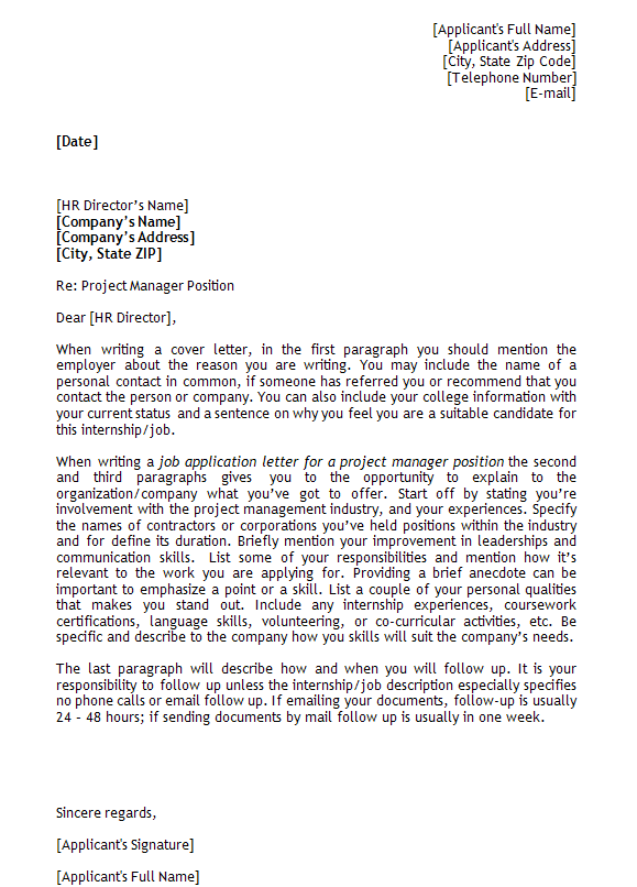 job application letter template for project manager