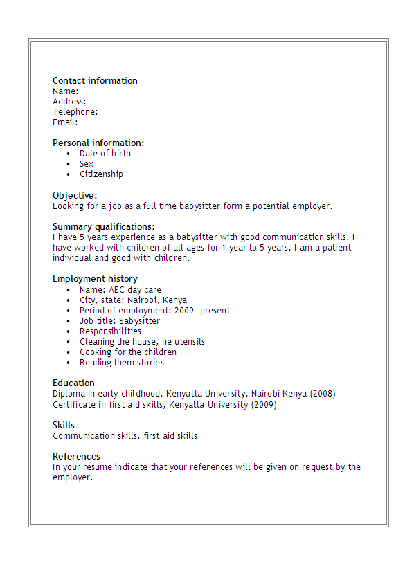 Babysitter Resume babysitter training resume Sample Babysitter Resume Resume And Cover Letters