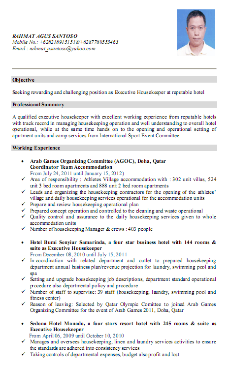Executive Housekeeper Resume Format. Resume Housekeeping Amp