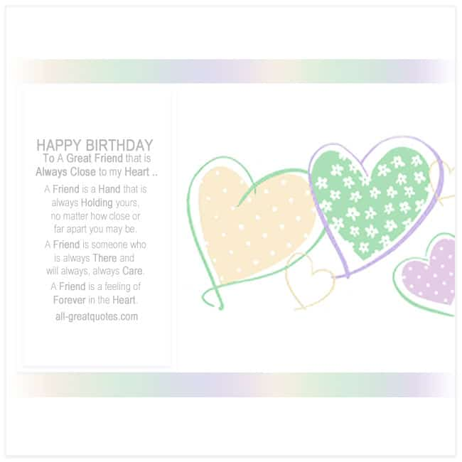 To A Great Friend That Is Always Close To My Heart Card