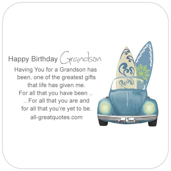Having You For A Grandson Happy Birthday
