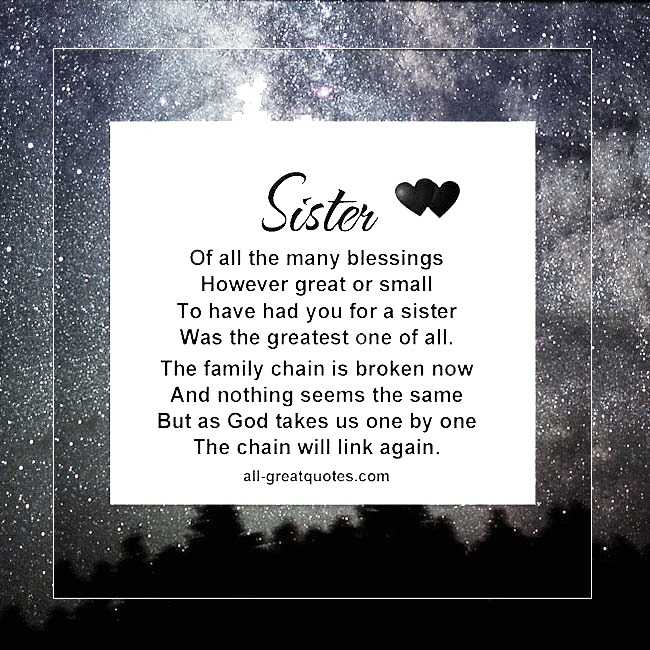 Sister Of All The Many Blessings However Great Or Small