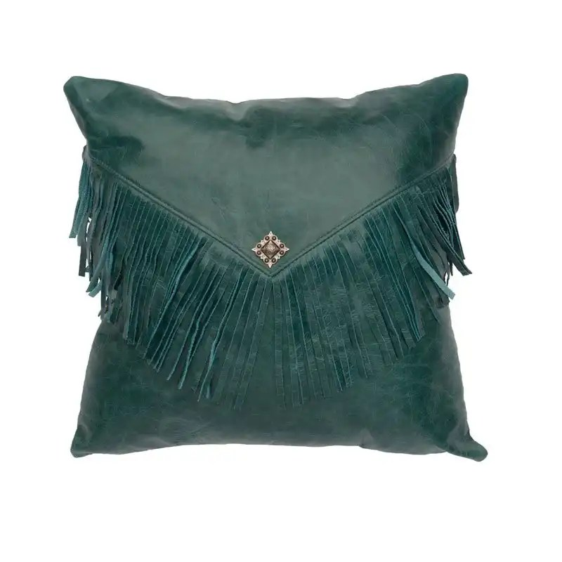 Painted Desert Blue Leather Pillow