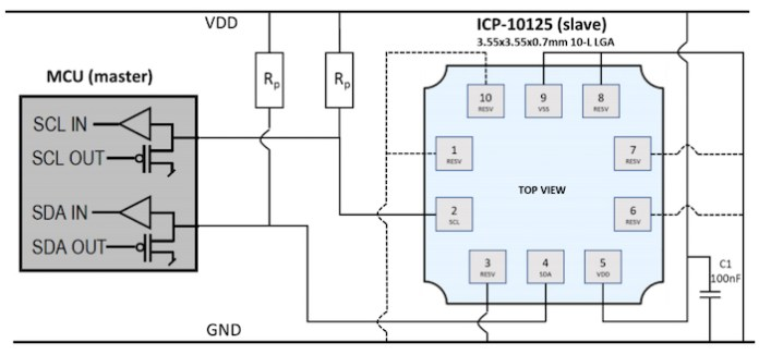 Typical application circuit using the ICP-10125