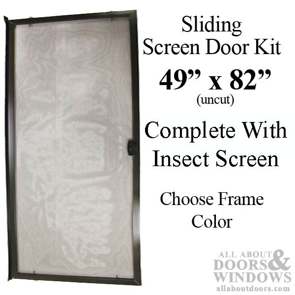 48 x 81 sliding screen door kit aluminum frame with screen material