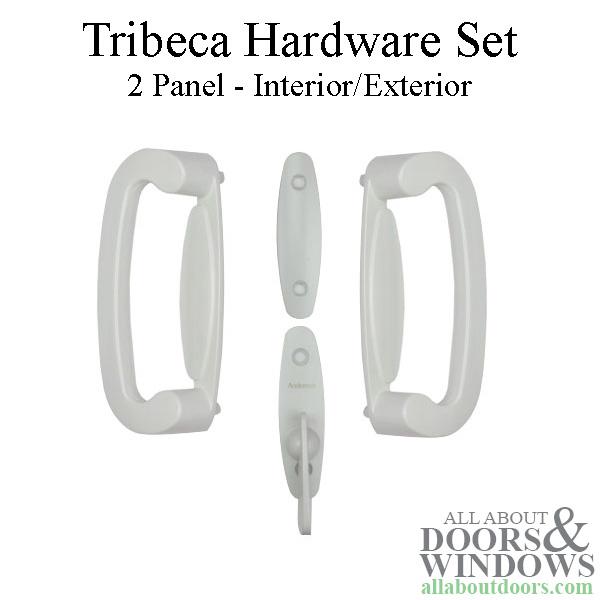 andersen frenchwood gliding 2 panel door trim hardware tribeca interior and exterior set white