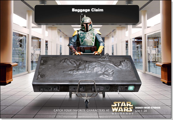 Boba Fett airport promotional image for Star Wars weekends at Walt Disney World.