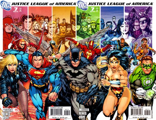 Justice League of America - Complete Cover shows all previous teams