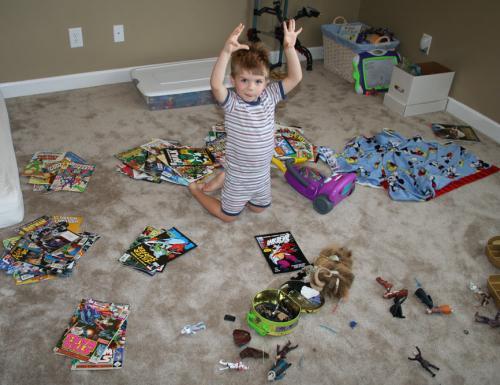 Carter sorting his comics