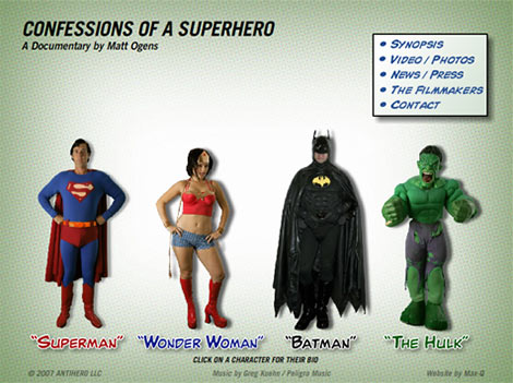 Confessions of a Superhero website screenshot