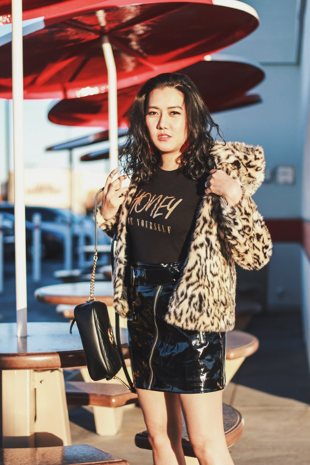 HM-Leopard-Print-Jacket-Patent-Skirt-Winter-Outfit-Honey-Be-Yourself-Black-and-Gold-Graphic-Tee