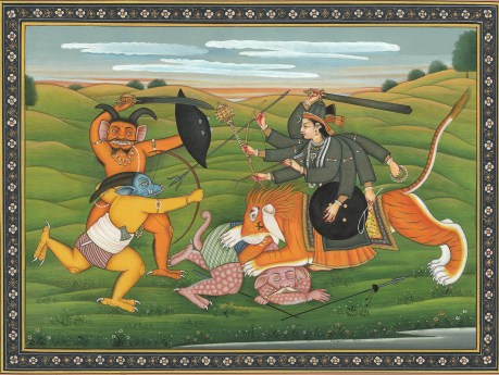 Durga killing Sumbha and Nisumbha