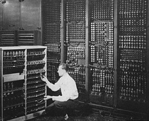 Changing a tube on ENIAC.