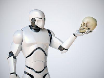 Robot holding Skull