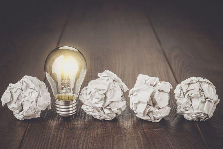 idea and paper balls