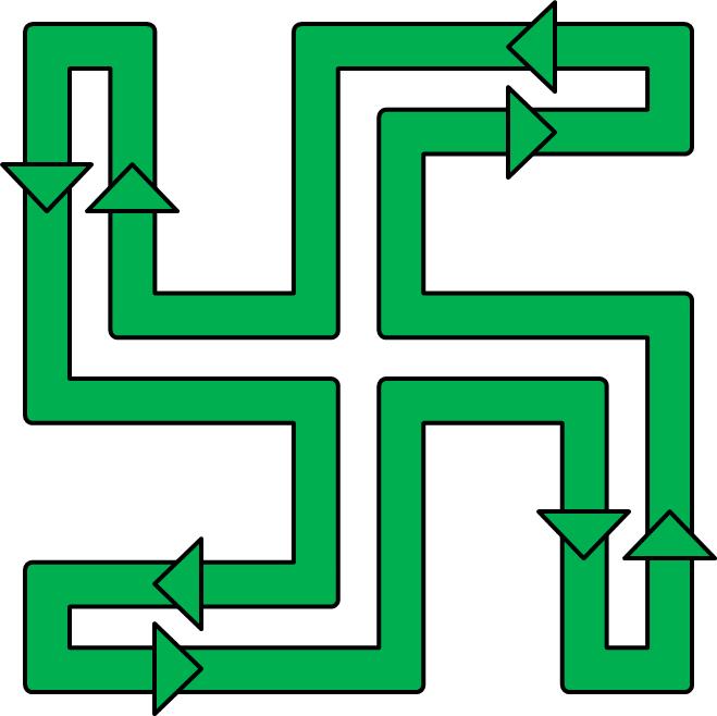 Swastika Line Layout