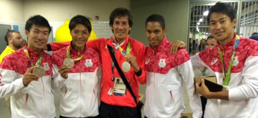Prof. Karube and Rio 2016 Japan Mens Relay Team