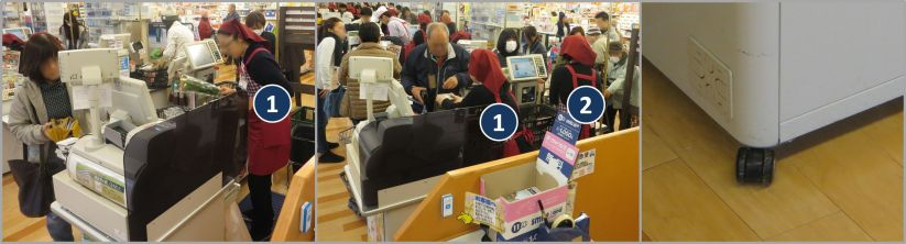 One and Two Person Cashier on Rollers in Japan