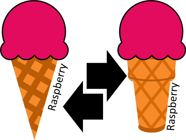 Raspberry Ice Cream Change Over from Cone to Cup