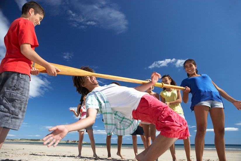 Limbo dance on Beach