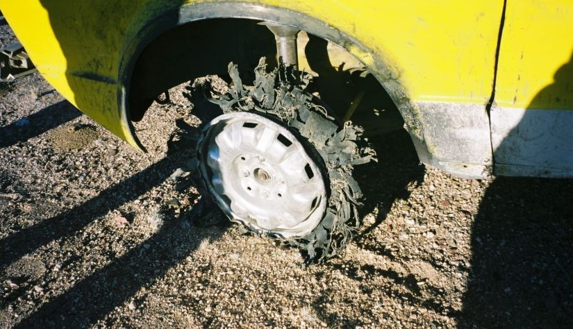 Destroyed Tire Namibia