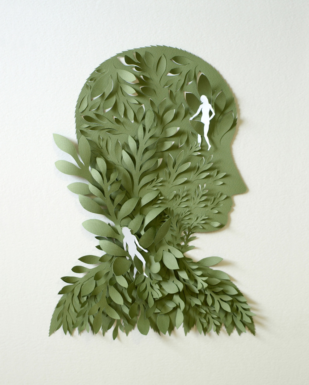 Green Head. Paper Sculpture by Elsa Mora