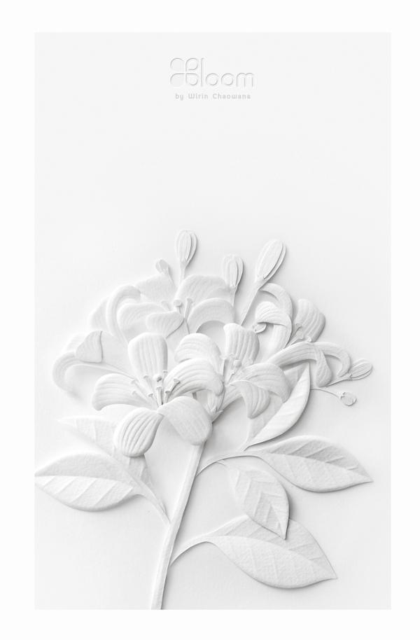 White Paper Flowers by Wirin Chaowana.