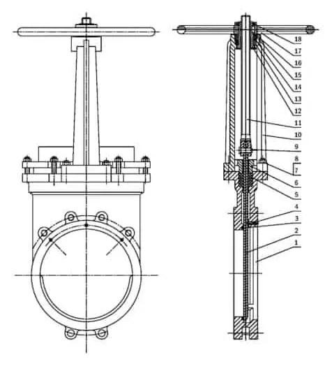 Components of knife gate valve