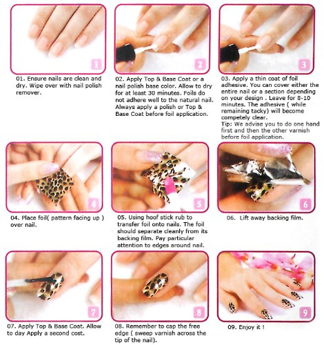 Top Plaza Nail Art Foils Set Profession For S Womens Sticker Base Coat Adhesive Cuticle Remover Tool Kit