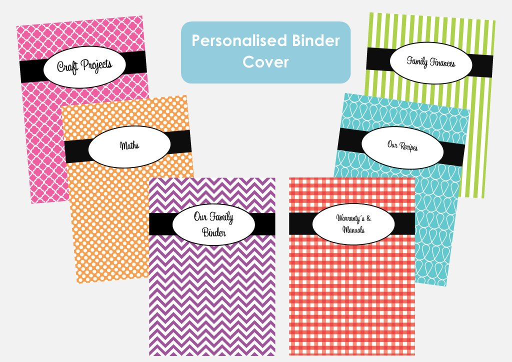 Organise with binder covers - recipes, projects, to do's, planner covers, household binders etc.!