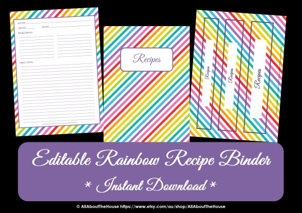 FREE Editable Printable rainbow recipe binder