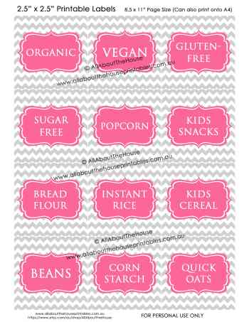 Pantry Labels - Grey Chevron Pink - Blank editable jpg pdf kitchen organization cooking printable storage baking-min