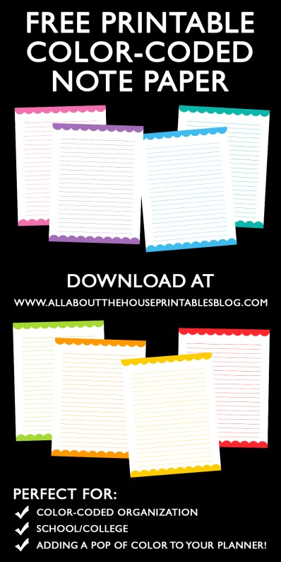 free printable color coded note paper planner diy accessories notes page planner insert rainbow erin condren kikki k filofax plum paper