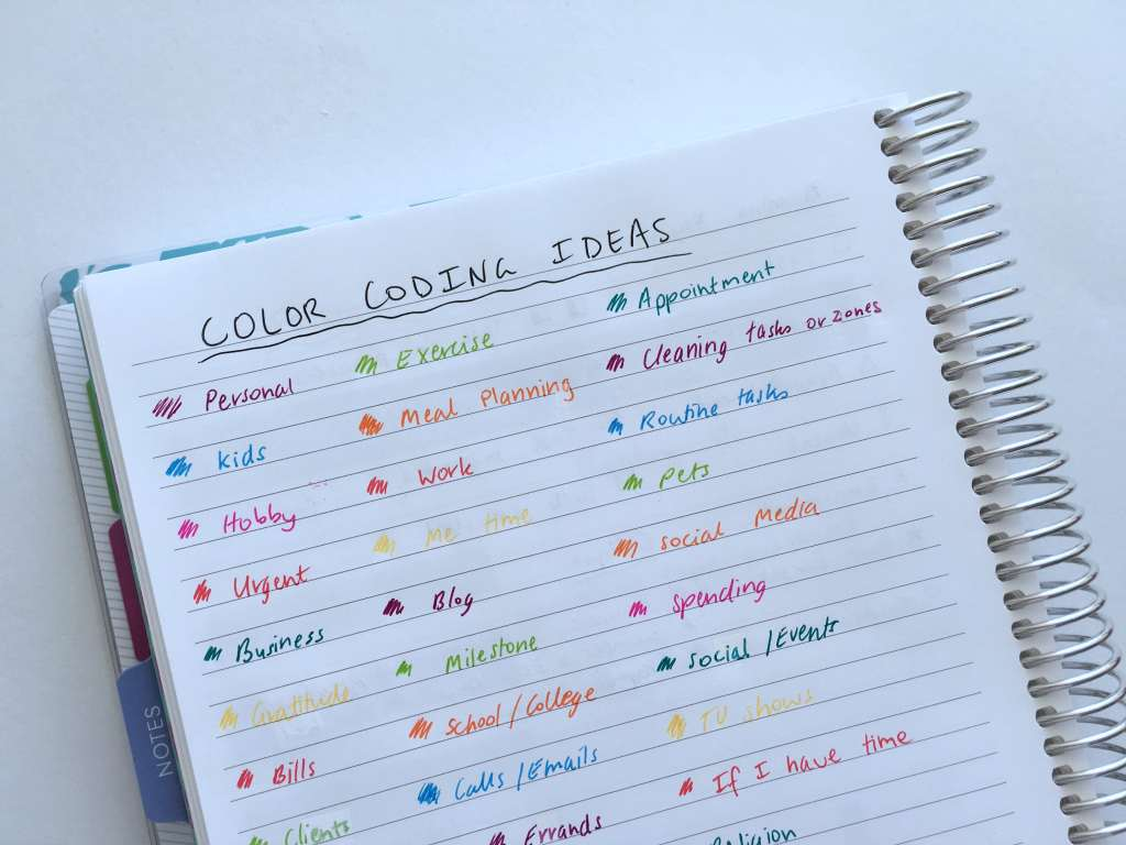how to color code your planner choose category planner ideas setup a new planner bullet journal bujo planner time inspiration diy plum paper color coding-min